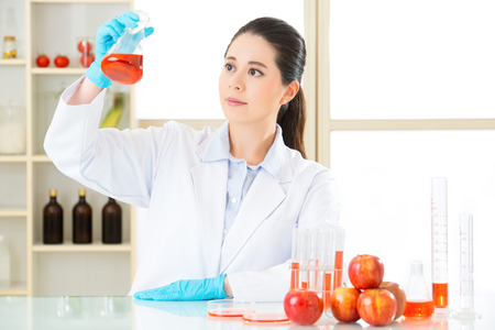 apple gmo: female scientist looking for new genetic modification in laboratory