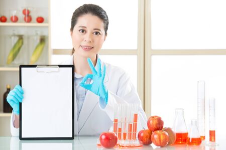 apple gmo: genetic modification examining result are ok for human health in laboratory