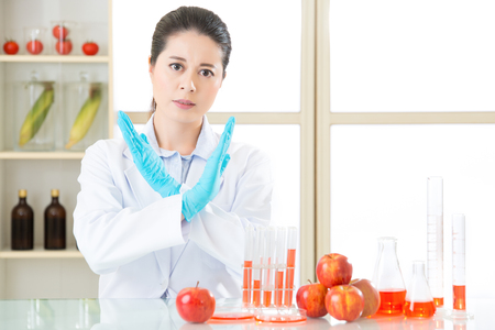 modification: say no to genetic modification gmo food, it is not healthy after test Stock Photo