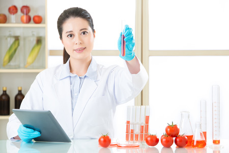 genetic food modification: hold up lab tube and find the answer for genetic modification food development Stock Photo