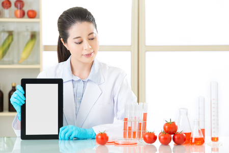 genetic information: genetic modification food information are everywhere on internet by use digital tablet