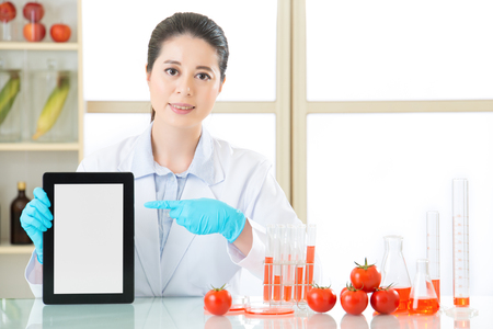 genetic food modification: you can discover genetic modification food information on internet by digital tablet