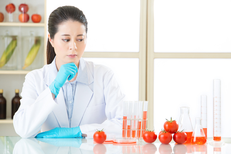 genetic food modification: are you sure it is safe to eat genetic modification food for healthy Stock Photo