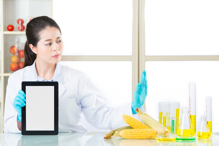 genetic information: you can discover genetic modification food information on internet by digital tablet