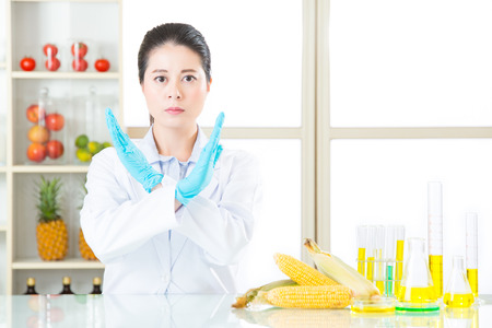 genetically modified crops: dont ever try it, the gmo food is not the cure for human food problem Stock Photo
