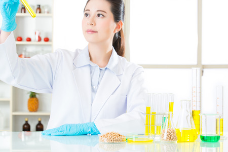 Plant biology research for genetic modification food gmo in laboratory Stock Photo