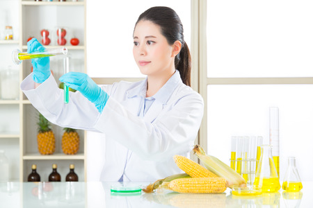 researchers: gmo chemistry researchers observing indicator color shift test