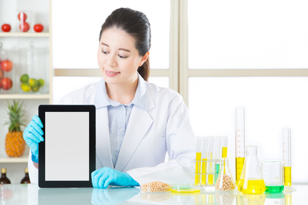 genetic information: you will find genetic modification food information on internet by digital tablet