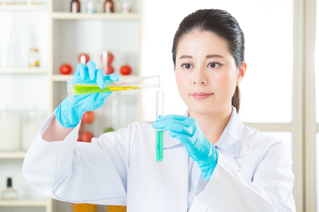 genetic modification food research will find the clue in laboratory Stock Photo