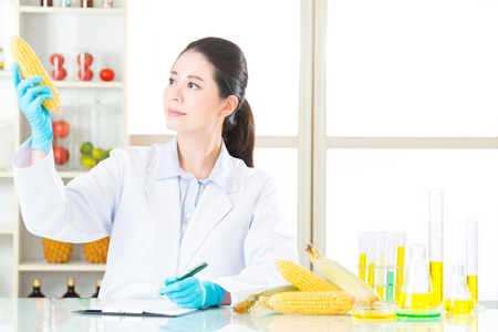 genetic food modification: test result of genetic modification food recording on clipboard