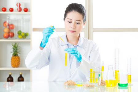 clue: genetic modification food research will find the clue in laboratory Stock Photo