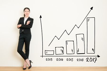 Business woman drawing graph showing profit growth on white wall background. Asian businesswoman isolated on white background in suit. beautiful mixed race asian chinese with business concept