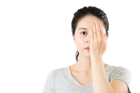 asian woman reviewing eyesight. closing one eye with hand and alphabetical eye test. isolated on white background. medical and health concept