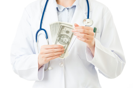 asian woman doctor counting money bribery for income. isolated on white background. medical and health concept
