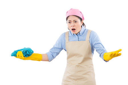 frustration disappointed unhappy housewife leaning to do lots of cleaning job. isolated on white background. housework and household health care concept.