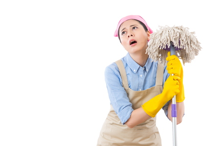 Spring cleaning lady overworked with house clean feel tired and  fatigued. isolated on white background. housework and household health care concept.