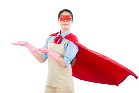 super woman hero showing presenting blank copy space with hand gesture for advertising. isolated on white background. housework and household concept.