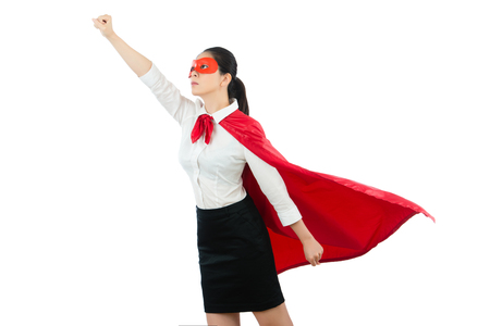 beautiful lady standing front of the clean background gesturing take off hands ready to fly with dress up of superhero clothing isolated on the white wall over copyspace