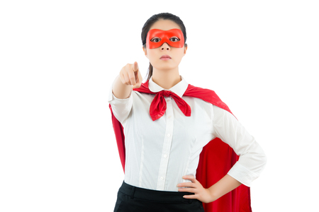 censure: businesswoman be a superhero gesture pointing positive camera searching new employee for company isolated on copyspace with white background over clean blank area.