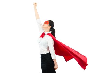 Donna asiatica dell'ufficio che si comporta come un supereroe in cima allo sfondo muro bianco con copyspace. concetto di festa di halloween e cosplay con persone professionali. Archivio Fotografico - 80715238