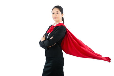 confidence smiling super lawyer hero standing for best services with cross arms. isolated on white background with copyspace. business and office worker concept. Foto de archivo
