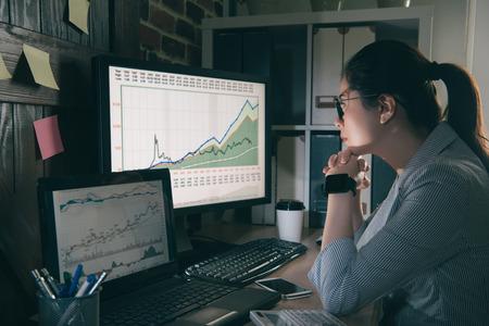 los analistas chinos confiables se centraron en su trabajo y en pensar en la dinámica de las acciones. Retrato de una mujer sentada mirando su computadora en una oficina. Foto de archivo