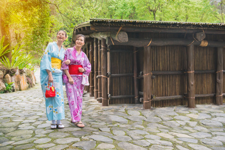Girlfriends wearing traditional clothing kimono having fun with watching nature plant and house outside. Japaneses friends walking near old japan architecture, Asian woman traveling on japan. Zdjęcie Seryjne