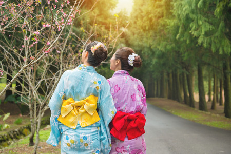 Travel tourist women standing watching cherry-blossom at sakura park, japan. Asian girlfriends looking at pink flowers and wearing japan traditional clothing kimono. Back view and copy space.