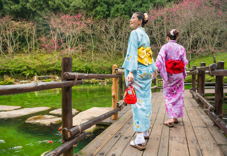Japanese girlfriends dressing kimono sightseeing cherry blossom during spring vacation travel. Asian woman walking on antique bridge promenade holidays holding hand of friend following her.