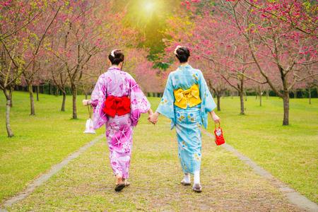 gekleed in mooie kimono japan meisjes lopen samen hand in hand op de kersenboom tuin genieten van weergave de bloeiende roze bloemen in de zomer middag tijd.