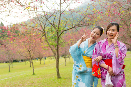 beautiful female traveler standing on cherry blossom park and wearing traditional kimono clothing cheerful showing victor gesture with sakura taking picture together during sightseeing holidays.