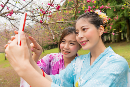 female tourists girlfriends to sightseeing in japan full blooming cherry flowers garden and wearing kimono clothing pointing mobile phone screen taking beautiful picture selfie. Stock Photo