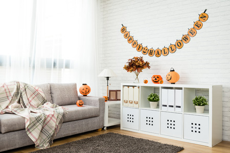 no people Halloween decoration living room for copy space background at home Stockfoto