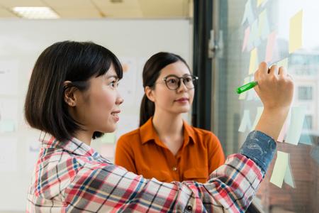 Lächelnder weiblicher Büroangestellter der Schönheit schreiben Notiz auf klebrigem Postpapier und Diskussion mit Unternehmensleiterfrau, wenn sie Glaswandsitzung verwenden.
