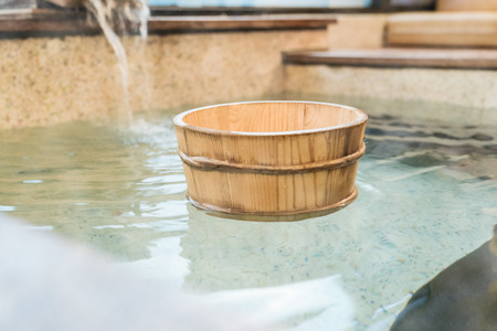 Japan natural mineral hot spring called onsen cover. japanese travel concept.