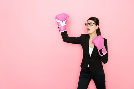 businesswoman ready to challenge the future business try to knockout