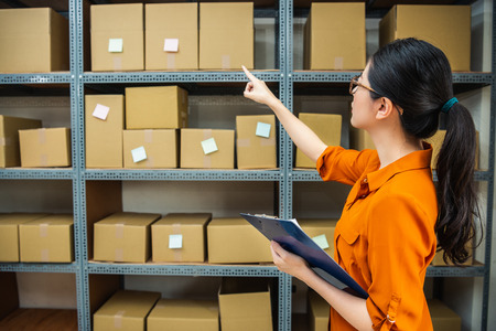 e-shop female employee is counting the boxes on the shelf to make sure the amount of goods is right