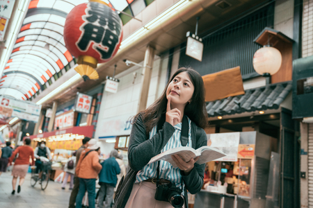 Cheerful woman traveler with camera holding a guidebook travel in japan. osaka travel concept. Happy tourist indoor market in sunny city centre in Japan.Translation of lantern texting black door. Stock Photo