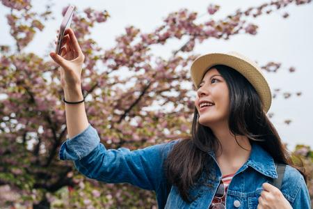 cheerful traveler standing next to the sakura tree and taking photo by cellphone app. young asian tourist joyfully using smart phone beside cherry tree. girl backpacker recording travel life in osaka