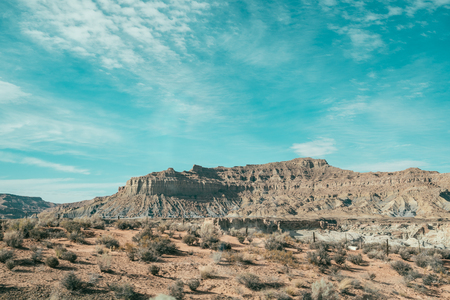 Views of Red Rock arizona USA. blue sky with sand desert mountain in summer. Wide Panoramic Scenic Landscape of grand canyon national park. Stock Photo