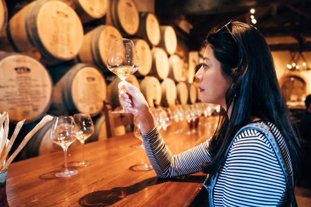 Young woman in the wine cellar tasting white wine alcohol. asian girl professional wine steward sitting indoor napa valley restaurant concentrated looking at glass. elegant lady relax in grapery bar