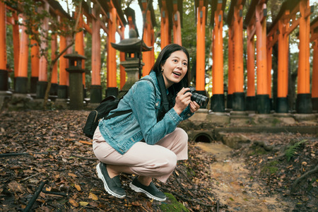 female tourist kneel down taking pictures of fushimi inari shrine kyoto japan. girl photographer photographing red torii gates interested in monuments. toro stone lamp in background in forest. Stockfoto