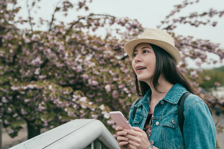 Tourist young woman using smart phone standing near Cherry blossom tree background in garden. chinese traveler in straw hat holding cellphone smiling cheerful looking up beautiful pink sakura flower Reklamní fotografie