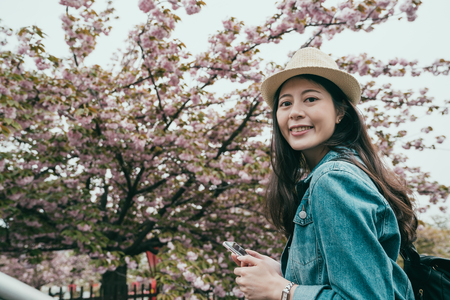 elegant young japanese lady sightseeing sakura outdoor park osaka japan. beautiful asian woman traveler holding mobile phone face camera smiling attractive. girl backpacker standing by cherry blossom