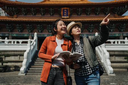 group of girls tourists visit confucius Temple in taipei Taiwan. Stock Photo