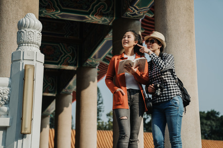 low angle view of female best friends travel in chinese confucius temple in beijing china. Stock Photo