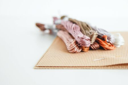 flatlay creativity: canva aida beige and multi-colored thread mouline thread, cross-stitch