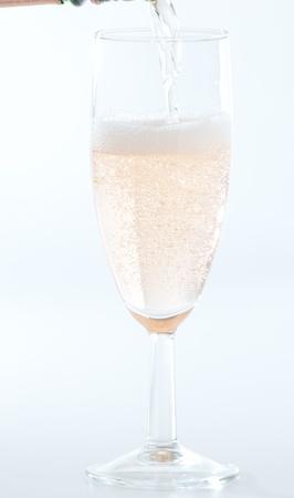 bridegrooms: Peach Champaign Stock Photo