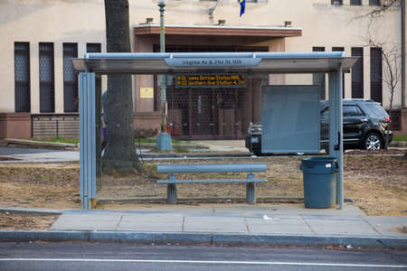 Spring, 2016 - Washington DC, USA - An empty public transport stop in the US capital Washington DC