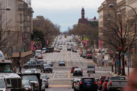 Spring, 2016 - Washington DC, USA - Busy highway in downtown Washington DC